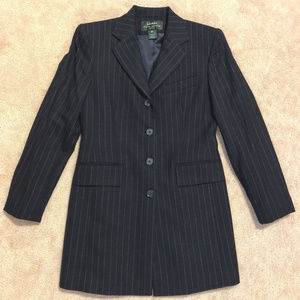 R Lauren wool Navy Pinstripe Long Jacket Blazer 4